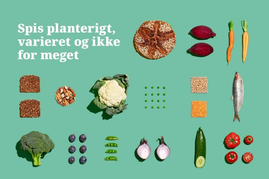 """Grøn plakat med sunde fødevarer """"Spis planterigt, varieret og ikke for meget"""""""