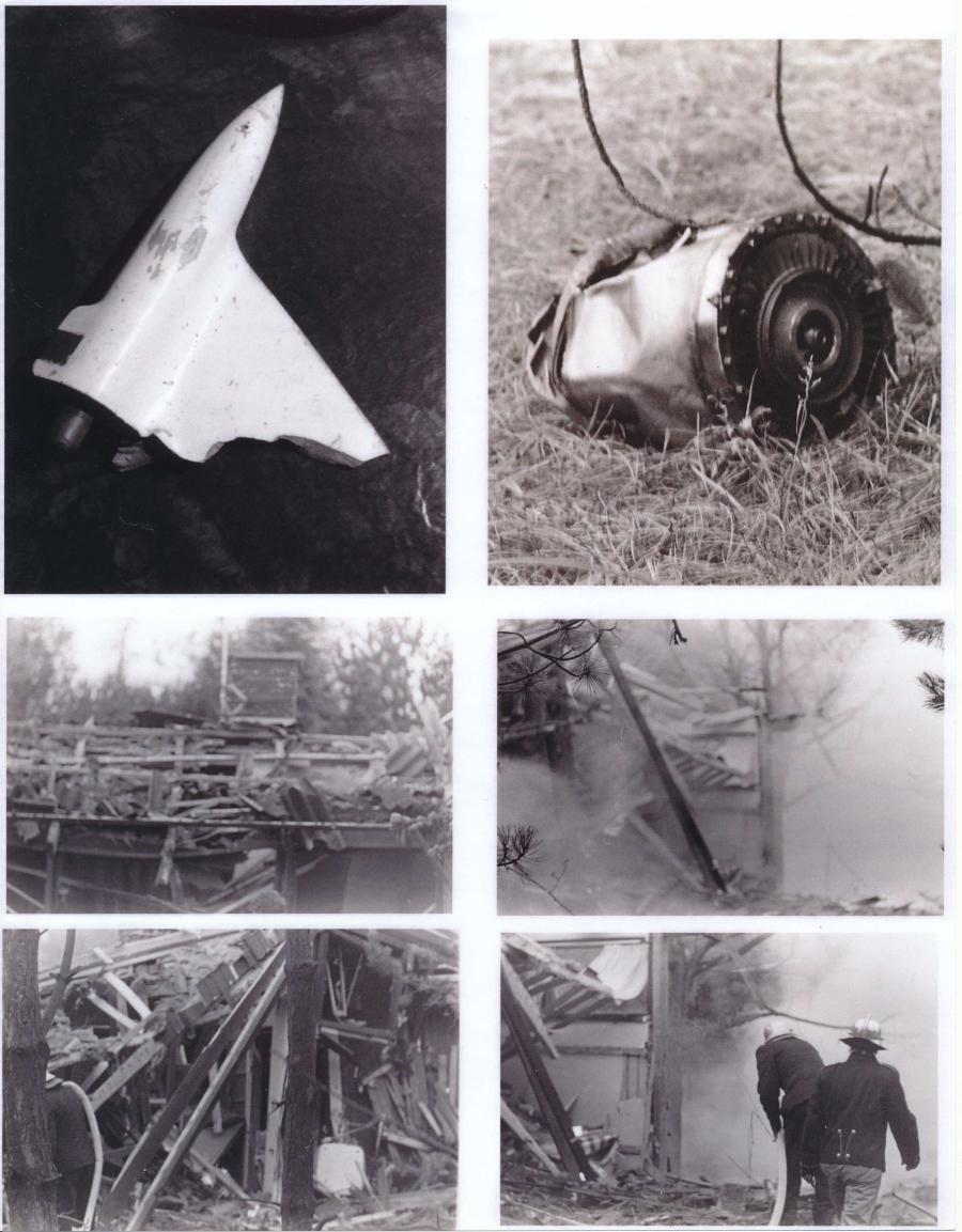 """Diverse billeder af rester af missil og skader på sommerhus forårsaget af """"Hovsamissilet"""" fotograferet kort efter nedslaget ved Lumsås Sønderstrand."""