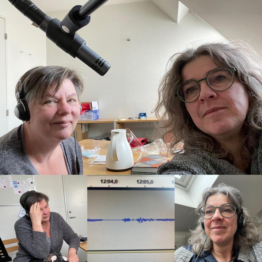Silke og Anette i lydstudiet