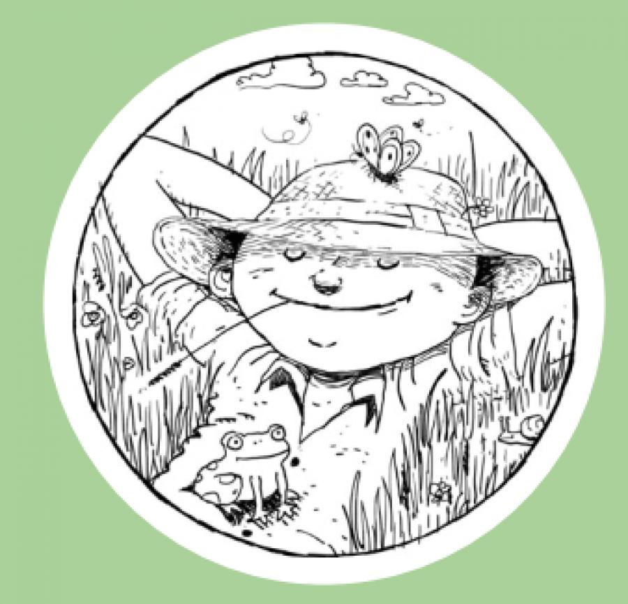 Logo: Den tilbagelændede haveejer