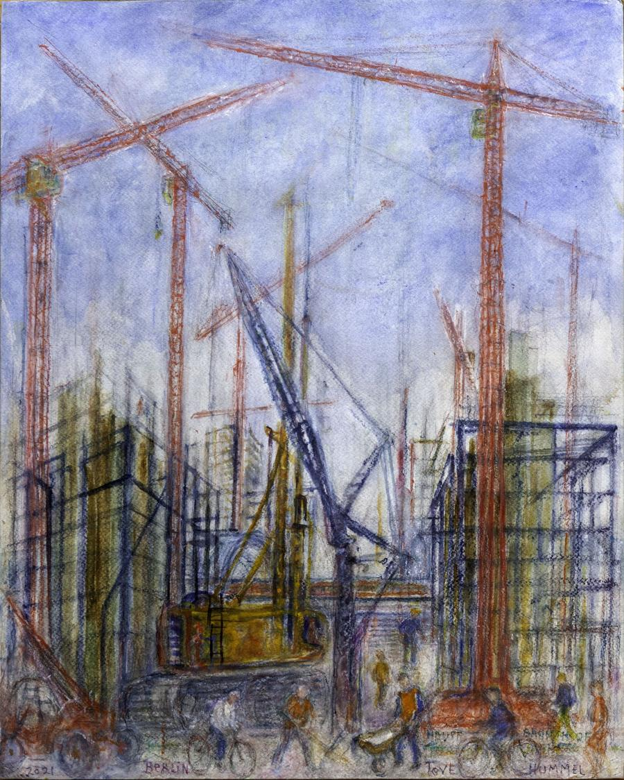Tove Hummels værk - kraner malet med akvarel og oliekridt