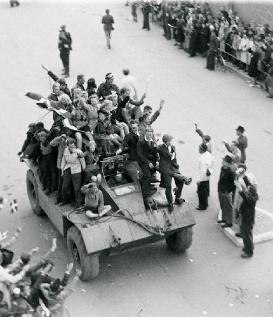 De første britiske tropper ankommer til Kolding efter befrielsen