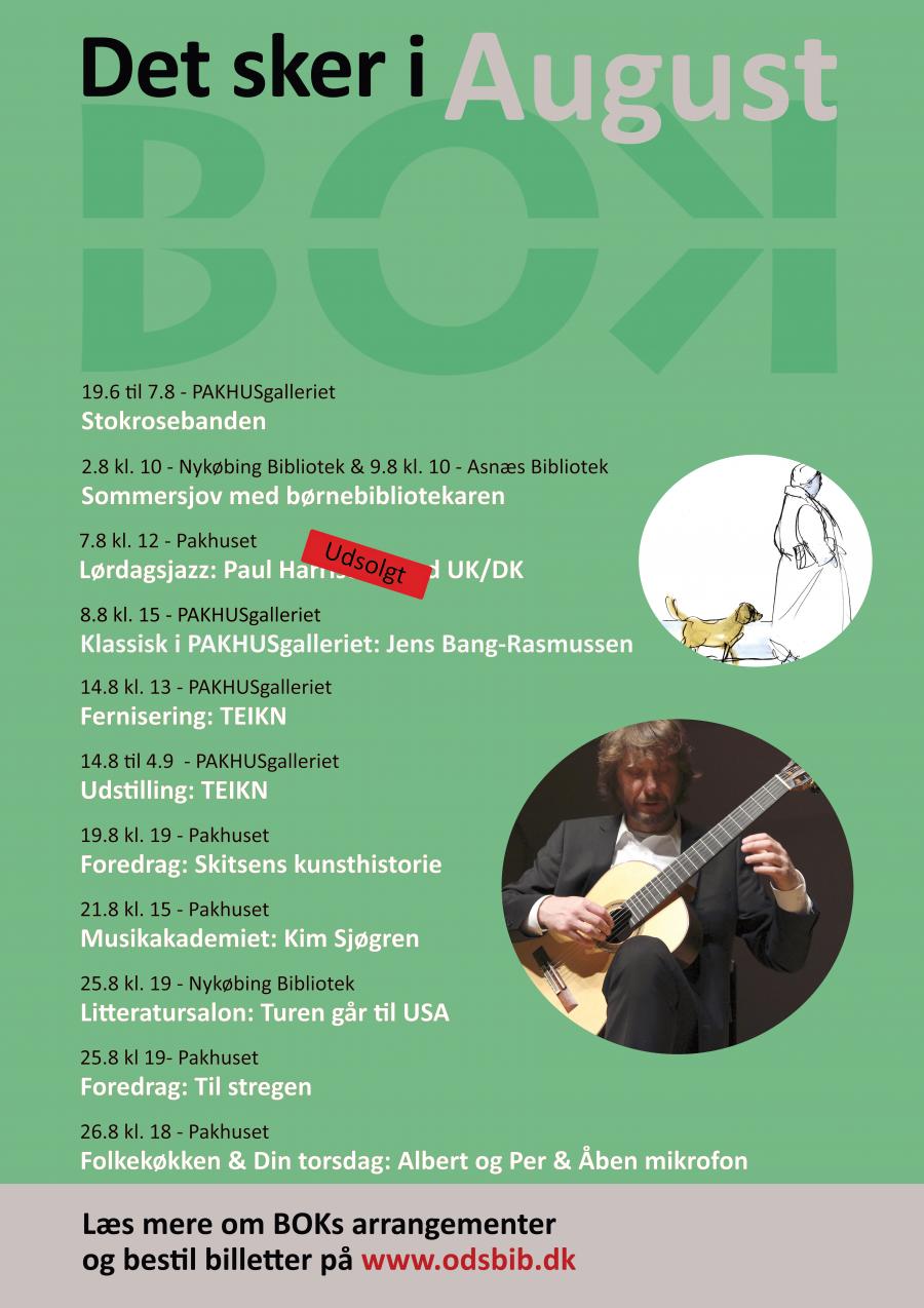 Plakat med programmet for august