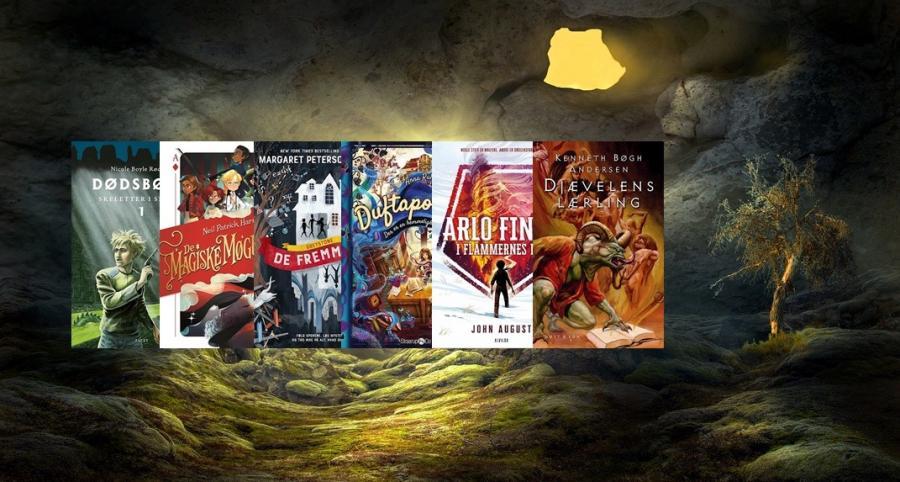 Række af bøger der minder om Harry Potter
