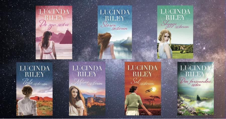 billede af de syv forsider på serien om De syv søstre af Lucinda Riley