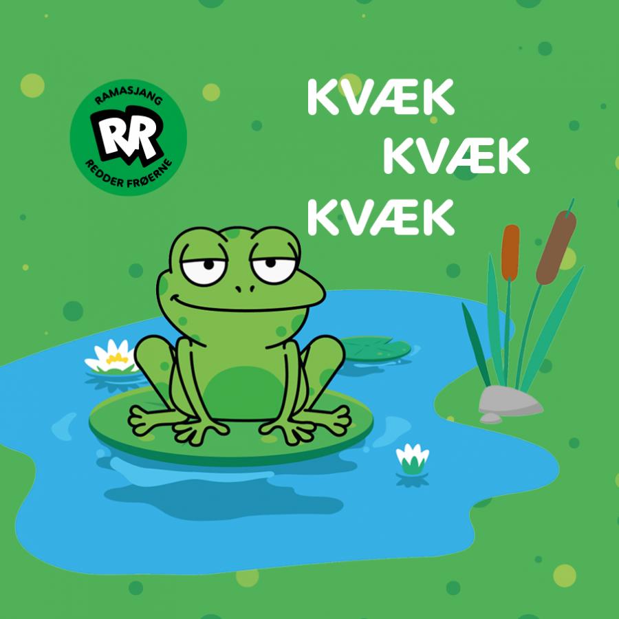 Tegnet billede af en frø med ordene Kvæk kvæk kvæk ved siden af